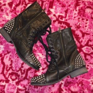 Steve Madden Shoes - STEVE MADDEN LEATHER STUDDED LACE-UP COMBAT BOOTS